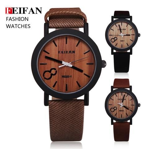 Simulation Wooden Relojes Quartz Men Watches Casual Wooden Color Leather Strap - Hespirides Gifts - 1