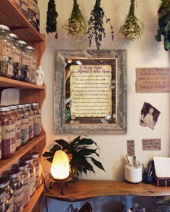 11 Rules of a Kitchen Witch s Home DIY Print Digital Download Kitchen Decor Witchy Decor Wiccan Decor Kitchen Witch Doll Green Witch in 2020 Apothecary decor Witch room Witchy decor
