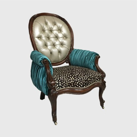 Custom upholstery Hair on hide leather and pleated silk velvet victorian  Moroccan arm accent chair upholstered78 best Skinndd Chairs images on Pinterest   Louis xvi  Dining  . Aqua Leather Accent Chair. Home Design Ideas