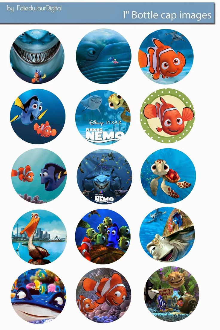 Free Bottle Cap Images: Finding Nemo free digital bottle cap images 1""