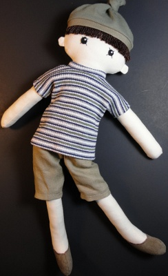"""Zak - Cloth doll pdf pattern - notice he doesn't have a nose?  Tip to self - you don't have to have a """"complete"""" face on a doll to be really cute.  Sometimes, if I try to make a """"full"""" face, I just mess it up.  lol"""