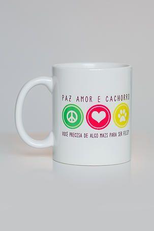 Caneca Paz, amor e cachorros | Santo Amigo | acessórios para doglovers e seus pets! | CANECA CACHORROS