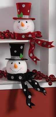 2013 RAZ Holiday on Ice Snowman Head Tree Toppers in black or red.