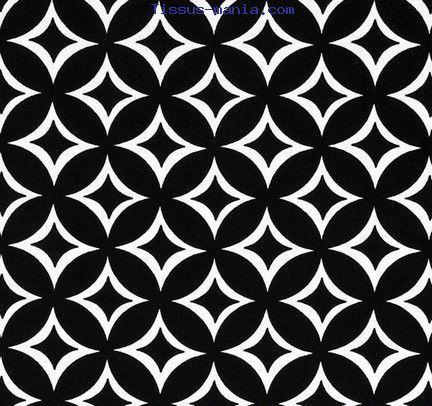 Tissu patchwork kaleïdoscope noir et blanc Rouge et Noir Miller