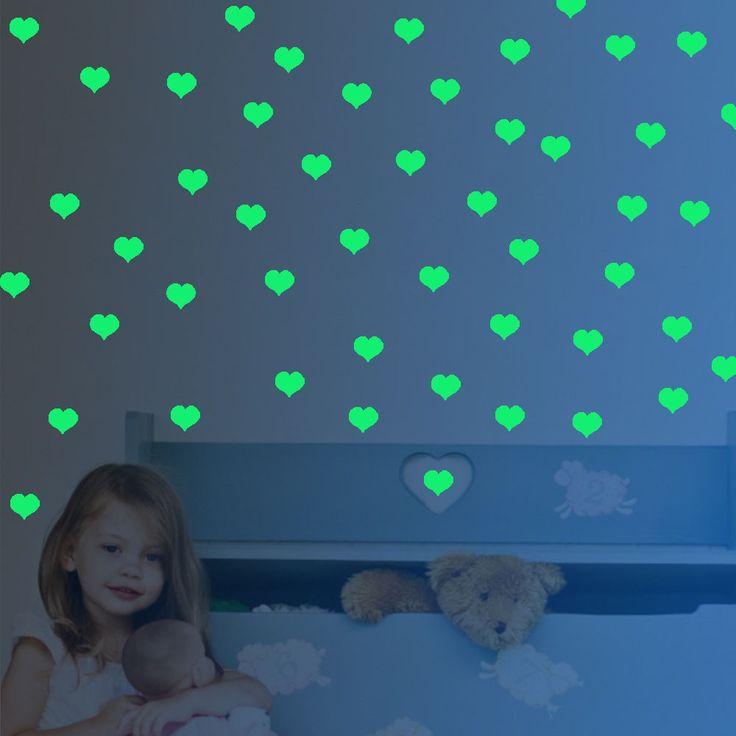 Новый новый новый сердца светятся в темноте лунный свет наклейки домашнего декора для этаж подарок водонепроницаемый винил для детской комнаты