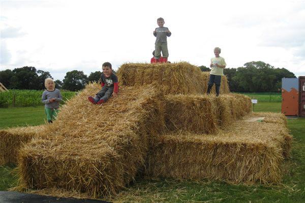 hay bale maze or slide