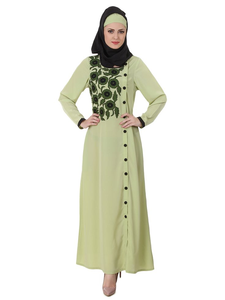 MyBatua Wareesha Crepe Parrot Green Abaya | Available in sizes XS to 7XL, lenth 50 to 66 inches.  Buy link : https://www.mybatua.com/catalogsearch/result/?q=wareesha+crepe+parrot+green+abaya