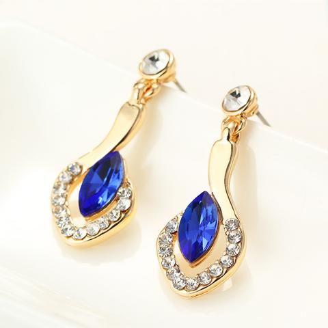 Elegant Blue Crystal Drop Earrings