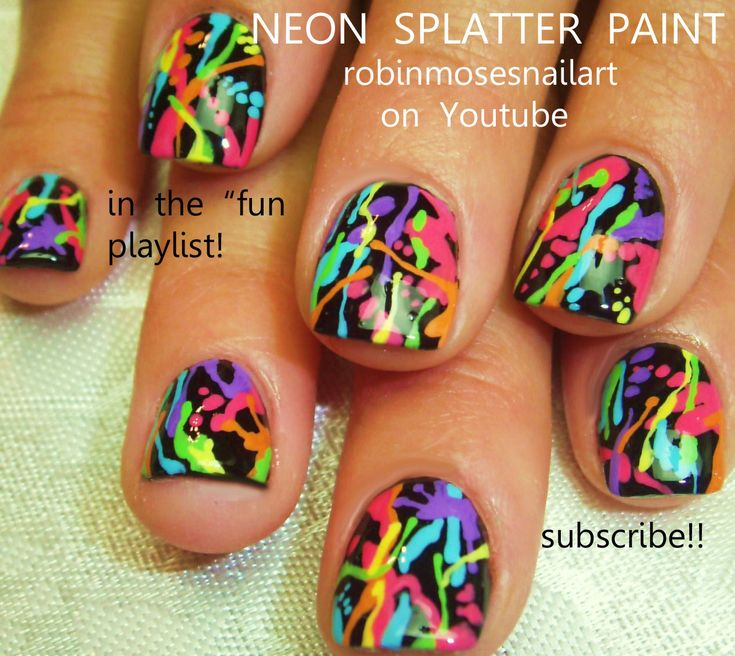 Nail-art by Robin Moses neon SPLATTER  http://www.youtube.com/watch?v=TFgzmxFExNk