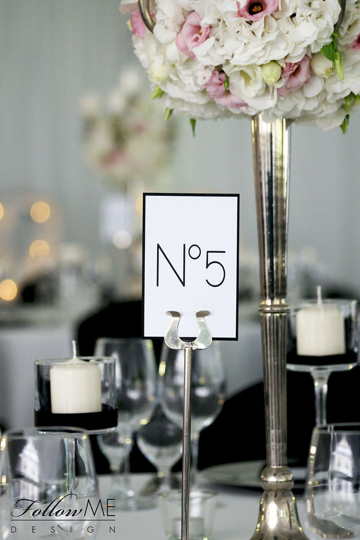 Karty menu, Numery stołów, Plan sali, Plan stołów, Tablica gości / Dekoracje ślubne inspirowane Canel No. 5 od FollowMe DESIGN / Menu Card, Table Numbers, Table Plan / Chanel No.5 Wedding Decorations & Details by FollowMe DESIGN