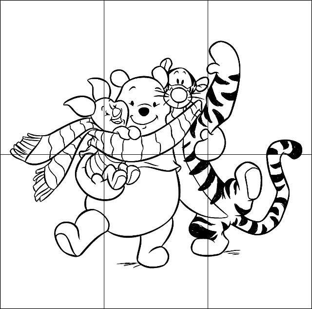 Puzzle infantil para imprimir, colorear y recortar de Winnie the Pooh y Tigger