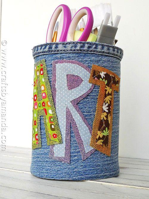 Denim Covered Pencil Can - CraftsbyAmanda.com