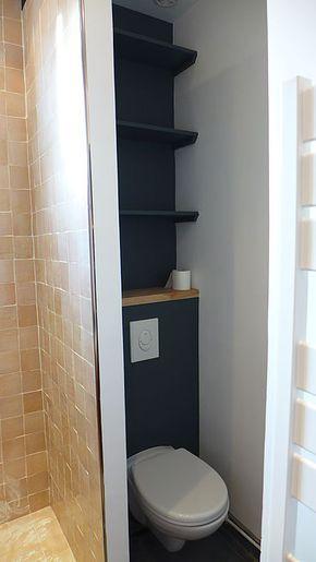 Toilettes suspendu, mur gris poivre | salle de bain , wc | Pinterest