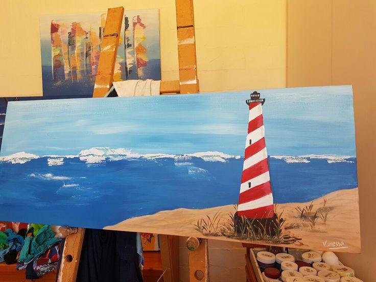 Horizontal canvas.  Lighthouse
