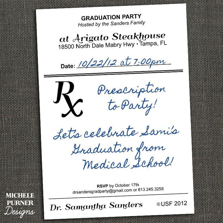 Medical Field Graduation Party Invitation or Announcement - Prescription - Male or Female - Printable or Printed for you. $15.00, via Etsy.