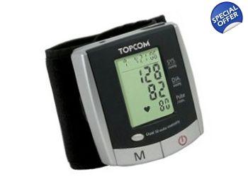 Tensiometru Topcom BPM 2501 Foarte exact, de mare precizie Testat si validat clinic Afisaj mare, prezinta: Sistola, Diastola, Pulsul si Ora  Simplu de utilizat: un singur buton START/STOP Zone de memorie: 2 x 50 de masuratori Umflare si dezumflare automata dintr-o atingere Inchidere automata si consum energetic redus Tensiometre24.com