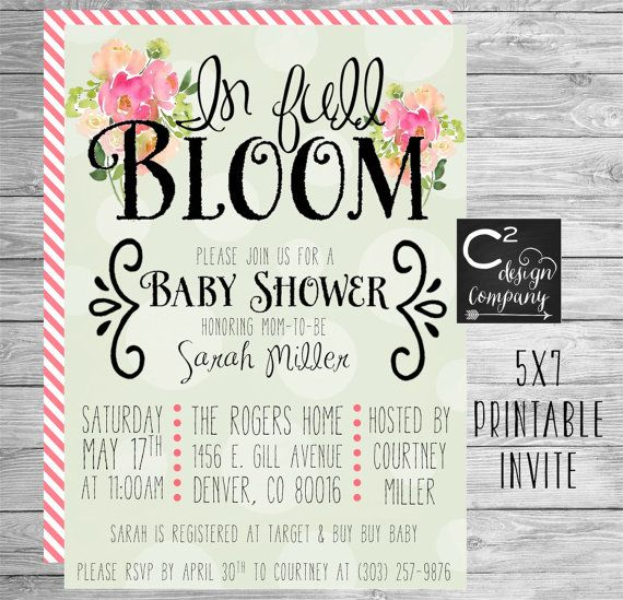 Great In Full Bloom Baby Shower Invitation