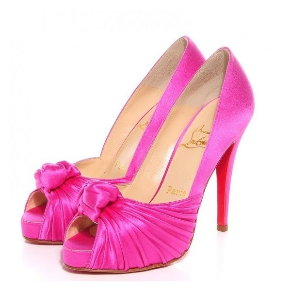 CHRISTIAN LOUBOUTIN Crepe Satin Lady Gres 120 Pumps 36 Hot Pink ❤ liked on Polyvore featuring shoes, pumps, hot pink satin pumps, satin shoes, hot pink shoes, hot pink stilettos and crepes shoes