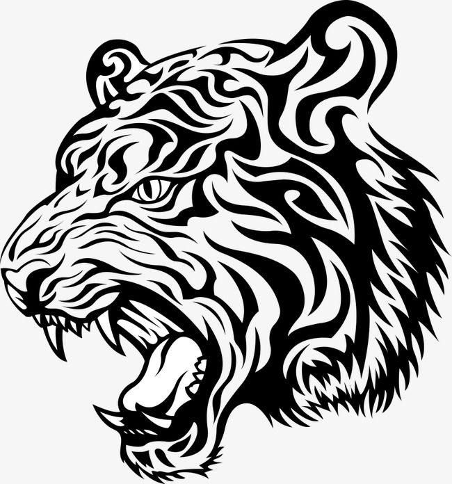 50+ Tiger clipart black and white vector info