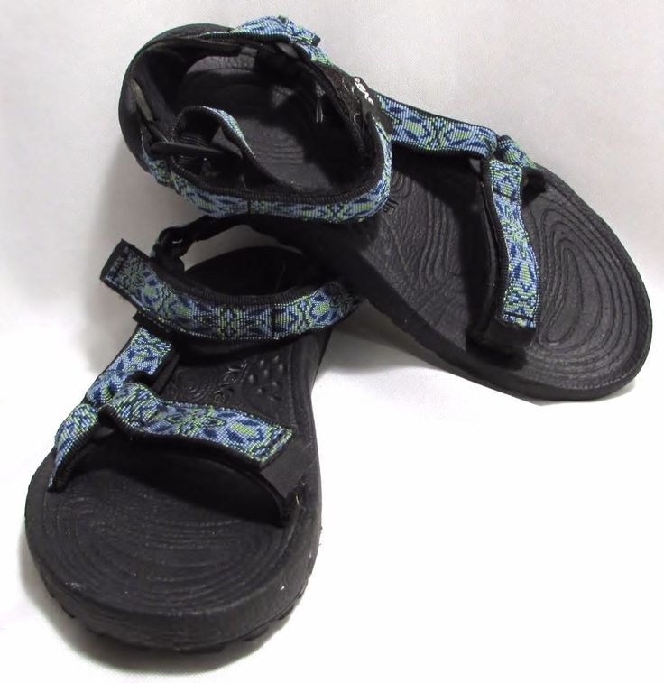 Womens Ladies TEVA Blue & Green Classic Velcro Sport Hiking Sandals Shoes 8 #Teva #SportSandals
