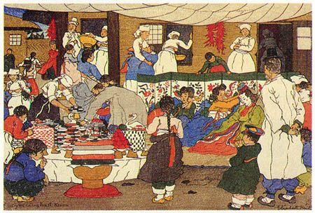 hanga gallery . . . torii gallery: Country Wedding Feast by Elizabeth Keith