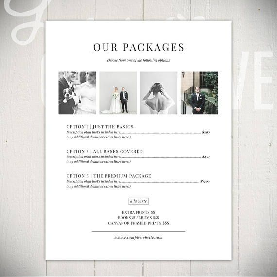 Photography Price List Essential Pricing Packages Form The Etsy Photography Pricing Photography Price List Wedding Photography Pricing