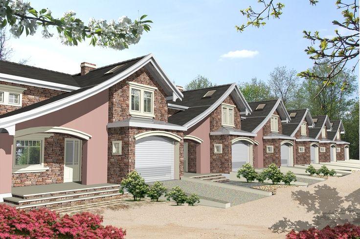 DOM.PL™ - Projekt domu Mój dom Berberys szeregówka z garażem CE - DOM BR3-75 - gotowy projekt domu