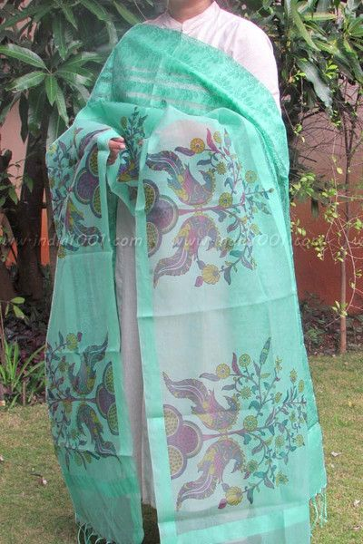 Designer Block Printed Silk Cotton Dupatta