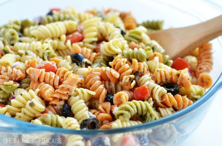Tri Color Pasta Salad from LIfe in the Lofthouse   I think I would add Pepperoni or Genoa Salami maybe some left over chicken
