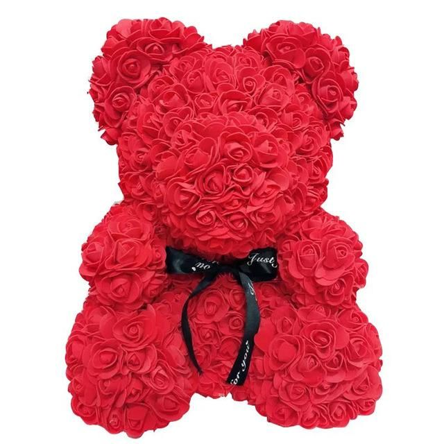 40cm Foam Flower Artificial Bear Rose Teddy Bear Heart Valentines Gift For Women