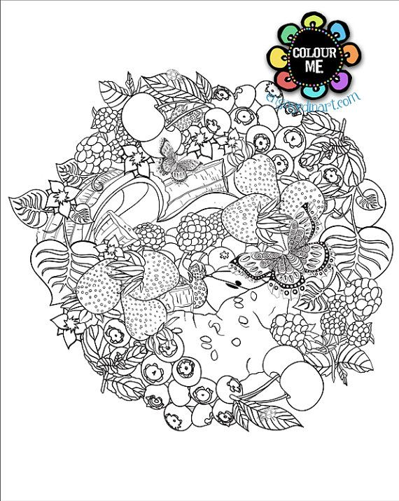 Printable colouring page adult colouring page fruit for Fruit coloring pages for adults