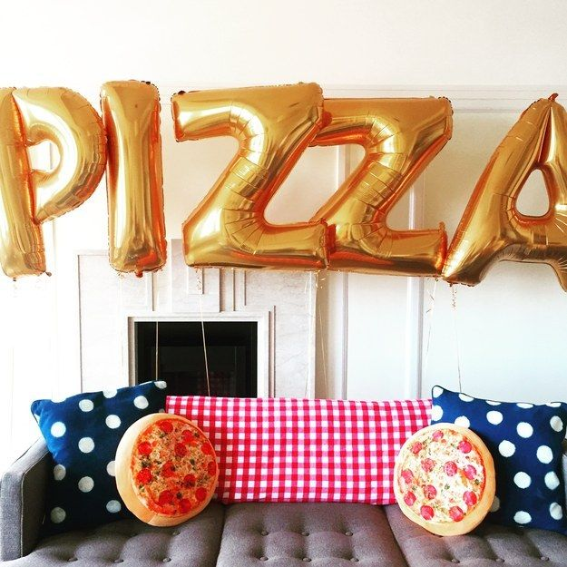 Decorate with some ~beautiful~ pizza balloons… | How To Throw An Awesome Pizza-Themed Party