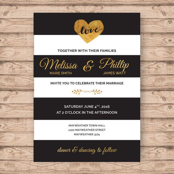 Modern Wedding Invitation - Print At Home File or Printed Invitations - Black White and Gold Stripe Personalised Wedding Invite by PaperCrushAus on Etsy