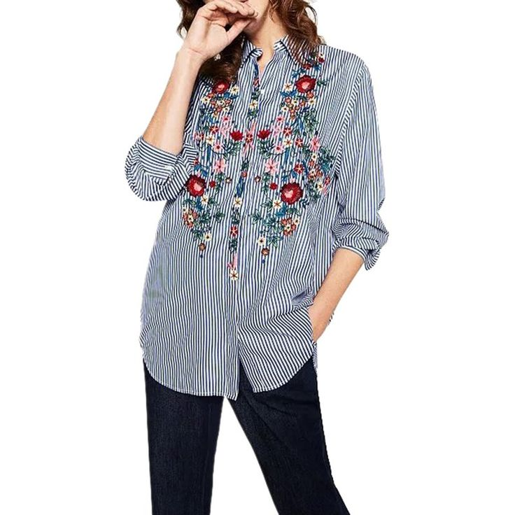 Women Blouse Casual Embroidery Flower Blue Striped Shirt Cool Autumn Long Sleeve Blouse Tops