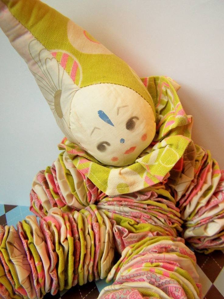 Vintage Yo Yo Doll Cloth Clown Quilting Doll Ants Yo