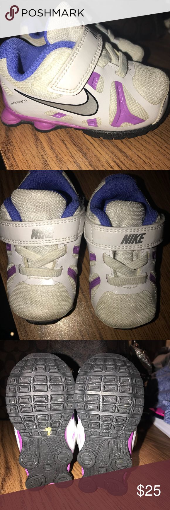 Purple Nike Shox Turbo 13 Size 4C EUC  Nike Shox Turbo Little Girls Running Shoes TDV Kids 525238-101 White Purple Nike Shox Turbo Girls Running Shoes 13 TDV Kids 525238-101 White Purple  Specifications Features Breathable Material, Lightweight Comfort Brand Nike Gender Women Age Group Child Shoe Category Girls' Shoes manufacturer_part_number 525238-101 Nike Shoes Sneakers
