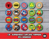 20x SUPERHERO Cupcake Toppers Printable DIY Batman Spiderman Hulk Captain America Ironman Boys Birthday Party Kawaii Cute Party Supplies