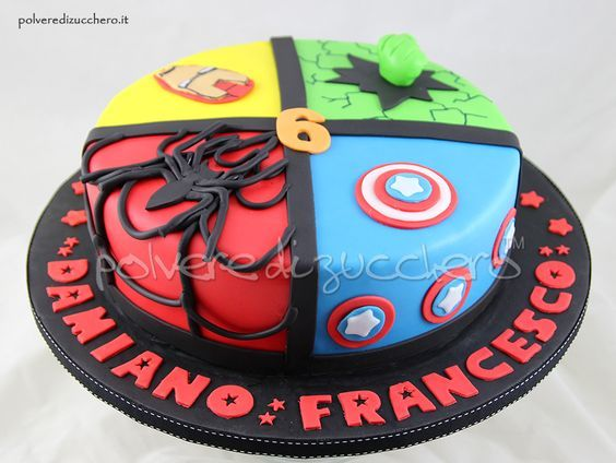 Image result for iron man spiderman hulk captain america cake