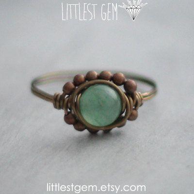Green Aventurine Boho Ring, wire wrapped jewelry handmade, wire wrapped ring, boho jewelry, unique rings, bohemian jewelry, boho ring