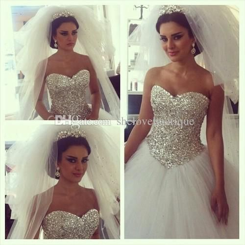 Free shipping, $163.36/Piece:buy wholesale Bling Bling 2014 Ball Gown Wedding Dresses Plus Size Sweetheart With Crystal Sequins Lace up Back Sweep Train Tulle Bridal Gowns from DHgate.com,get worldwide delivery and buyer protection service.