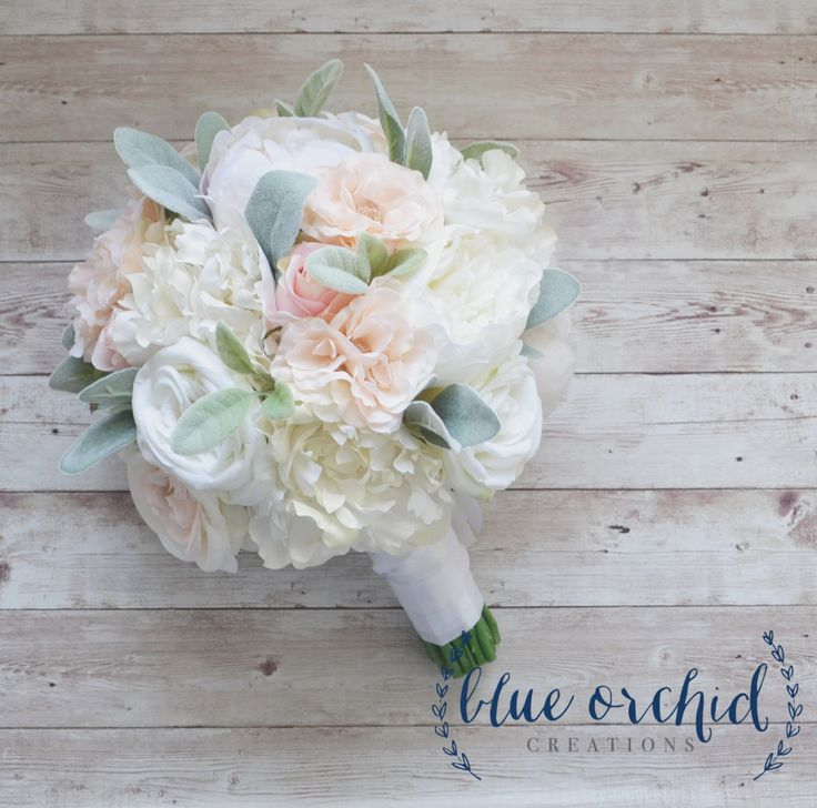 Peony Bouquet - Roses, Cabbage Roses, Garden Roses, Blush Peony Bouquet, White Peony Bouquet, Lambs Ear, Silk Peony Bouquet, Wedding Bouquet by blueorchidcreations on Etsy