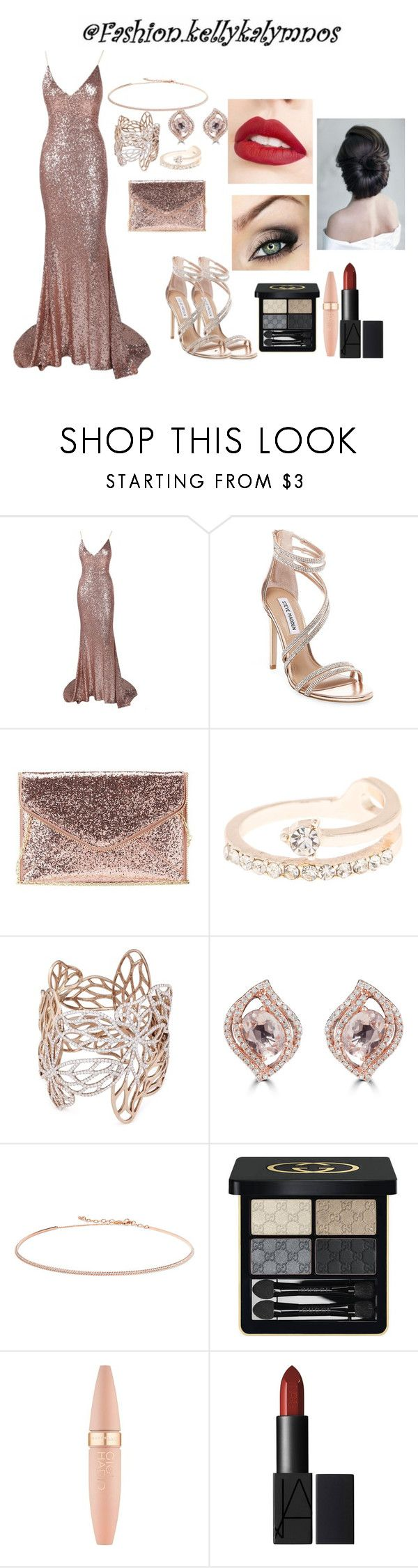 """Rose gold beauty"" by kellykalymnoskd on Polyvore featuring Steve Madden, Charlotte Russe, Anyallerie, Effy Jewelry, Diane Kordas, Gucci, Maybelline and Jouer"