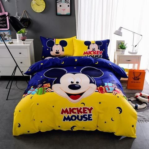 100%Cotton Kids boys Girls Mickey patterns Bedding set Twin /Queen/King Size Bed Linen/Bed Sheet Duvet Cover  3/4Pcs