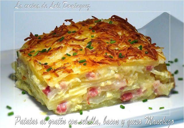 La cocina de Loli Domínguez: Patatas al gratén con cebolla, bacon y queso Manchego