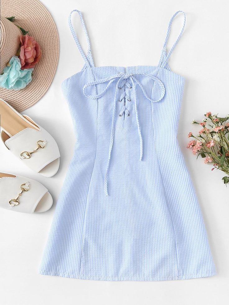 Lace Up Striped Cami Dress 1