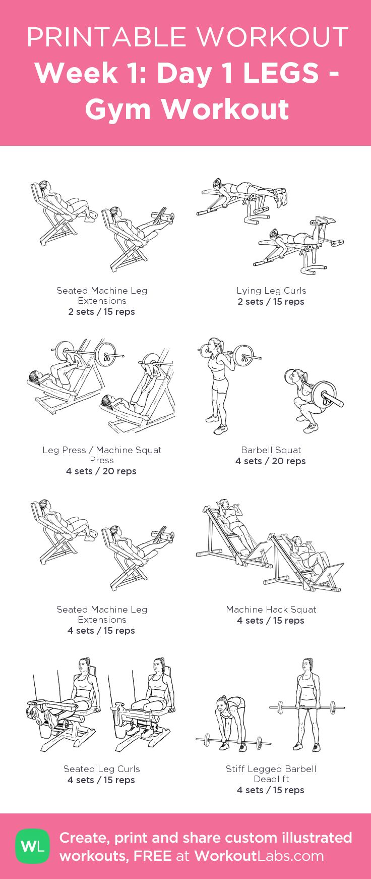 Week 1: Day 1 LEGS - Gym Workout: my visual workout created at WorkoutLabs.com • Click through to customize and download as a FREE PDF! #customworkout