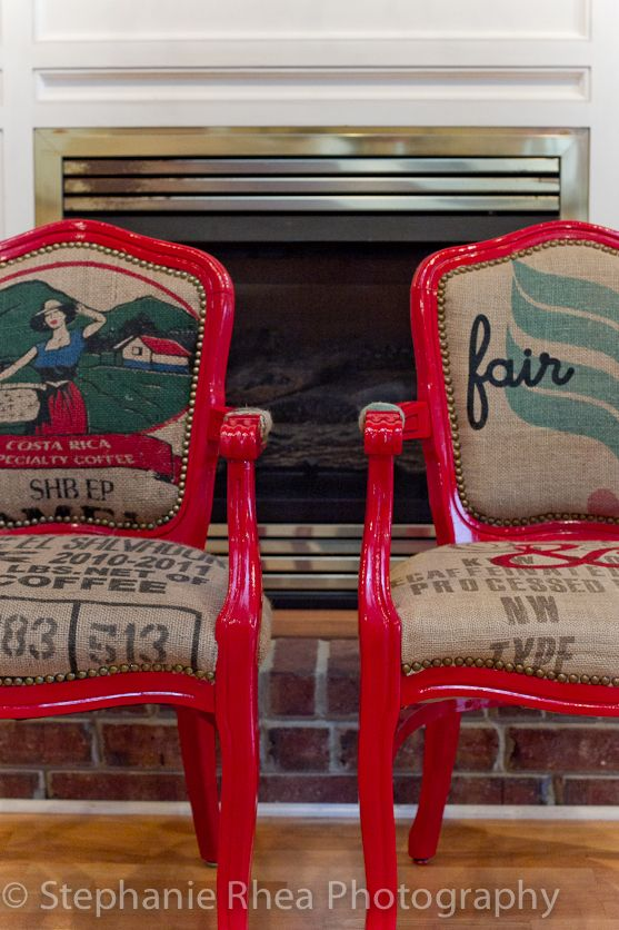 Catherine Ann Herrington Art chairs covered with coffee bags