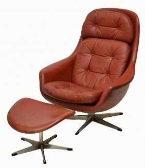 MID-CENTURY MODERN LEATHER CHAIR & STOOL-(kd) lovin this chair