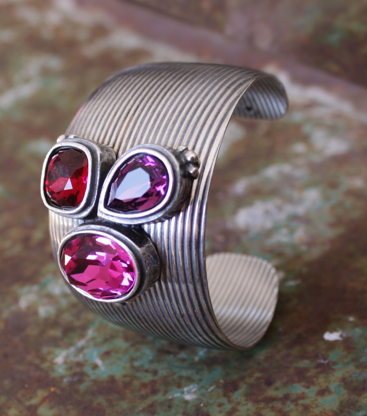 B1154 Bold and textured burnished silver cuff finished with fuchsia, Indian red and amethyst crystals MADE WITH SWAROVSKI CRYSTAL ELEMENTS