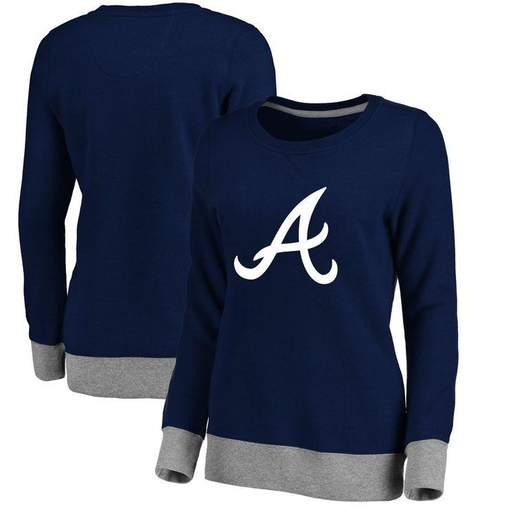 Atlanta Braves Women's Horizon Pullover Sweatshirt - Navy - $54.99